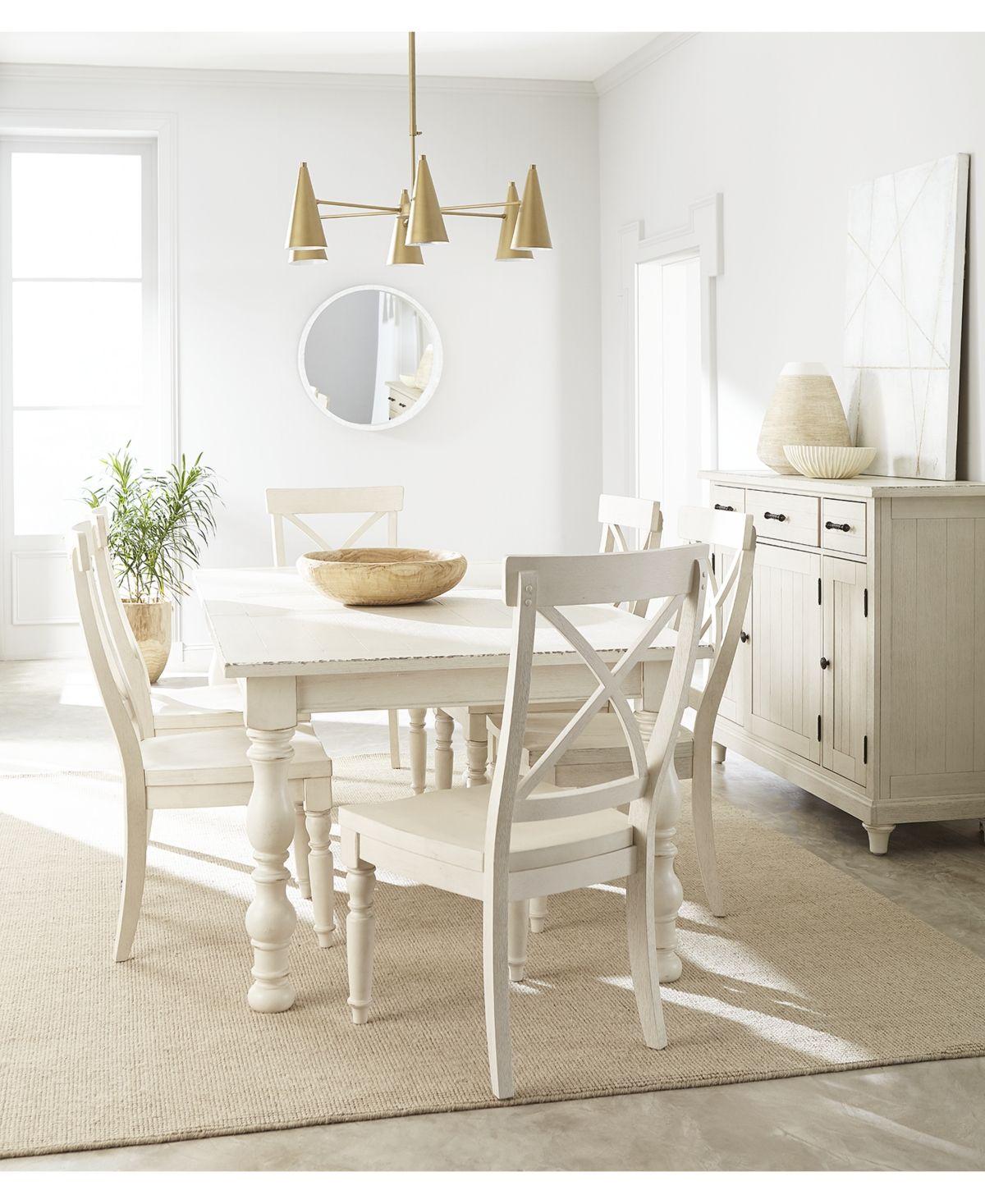 Aberdeen worn white expandable dining furniture 7pc set