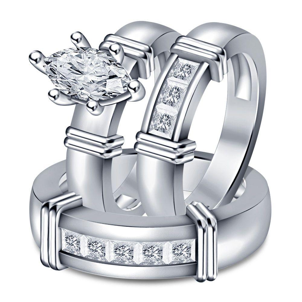 White Marquise & Princess Damond in 925 Sterling Silver 3pcs. Wedding Trio Set #WeddingEngagementAnniversaryBrithdayPartyGift