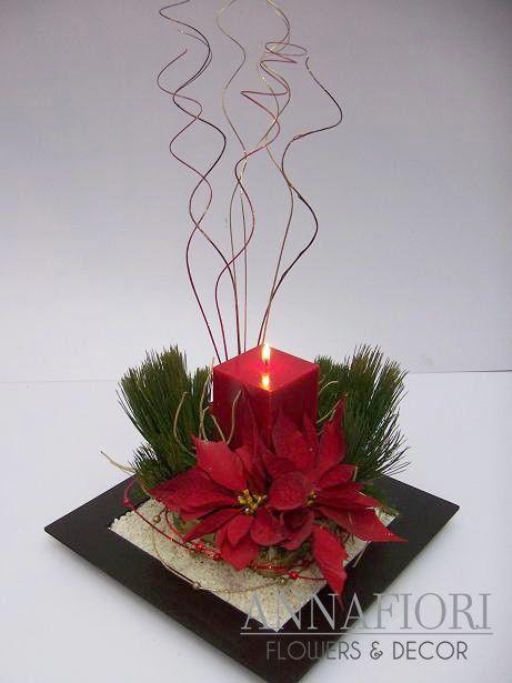 Arreglo floral vela roja cuadrada decorada annafiori - Arreglos navidenos para mesa ...