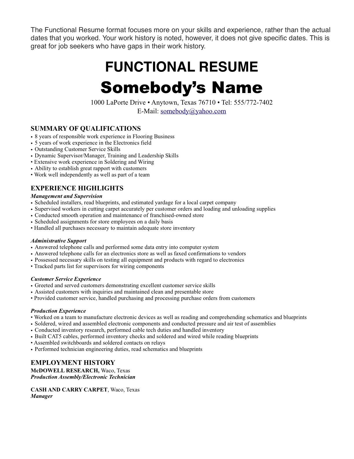 Resume Format One Job ResumeFormat