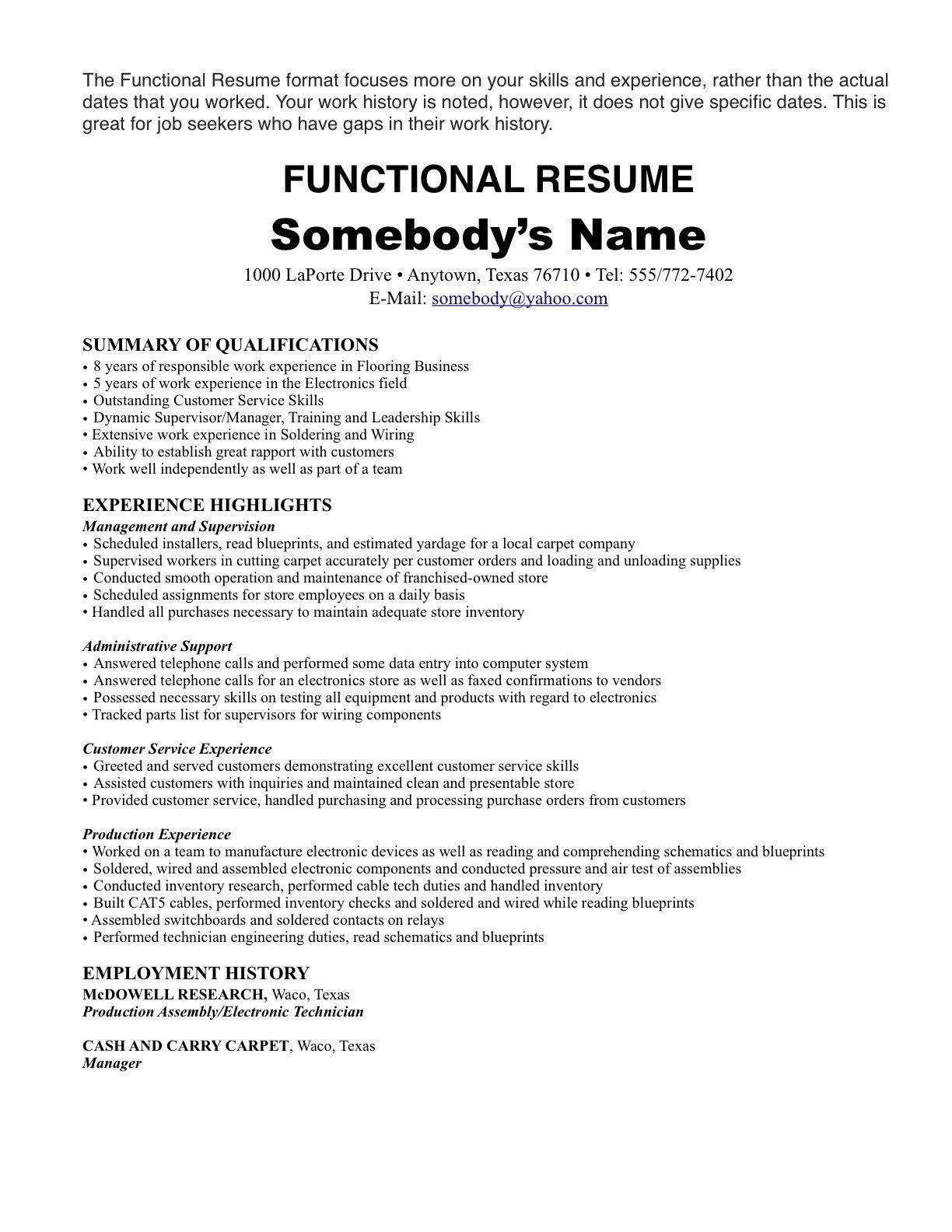 One Job Job resume template, Job resume format, Resume