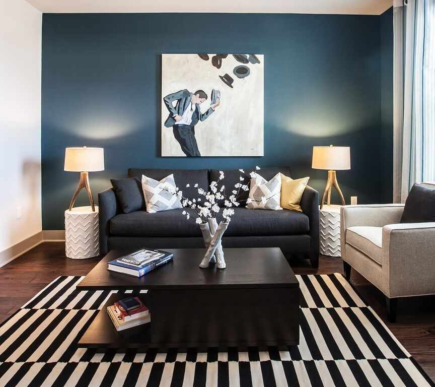 7 Gorgeous Wall Paint Ideas That Will Transform Your Home | Brown and blue living room, Blue living room, Home decor paintings