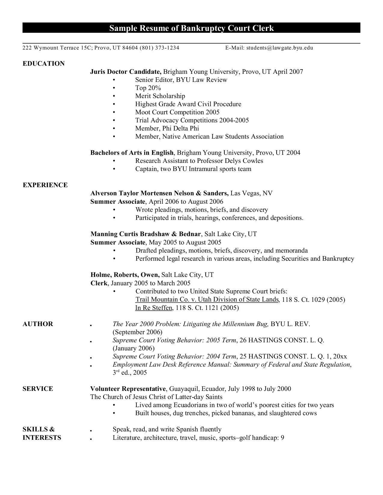 Resume Examples Byu , examples resume ResumeExamples