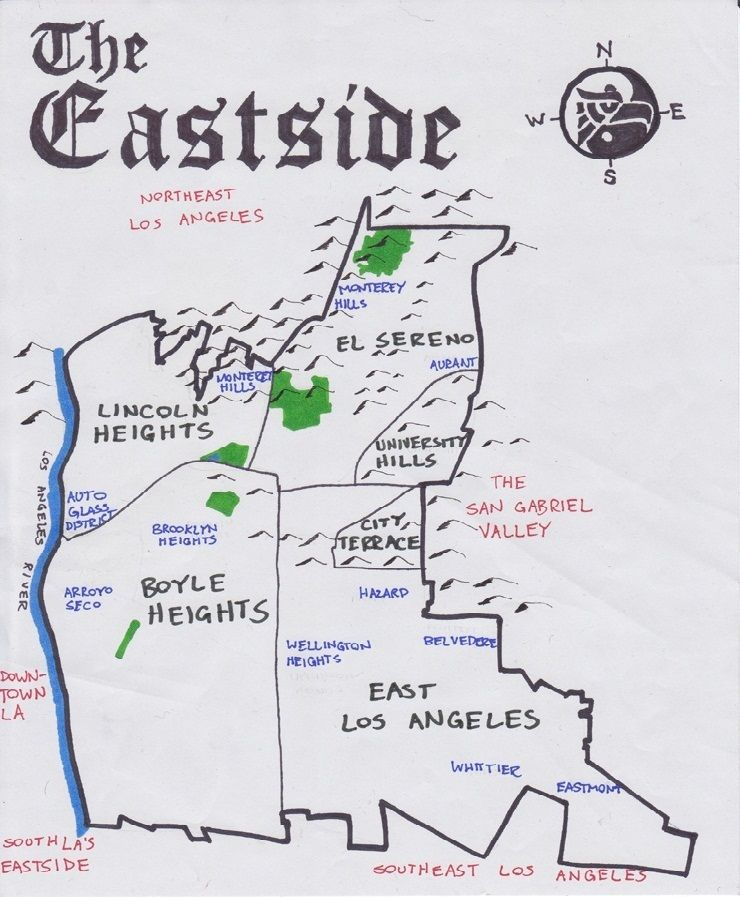East Los Angeles Map inspiration for the theme of my summer handmade planner. (With