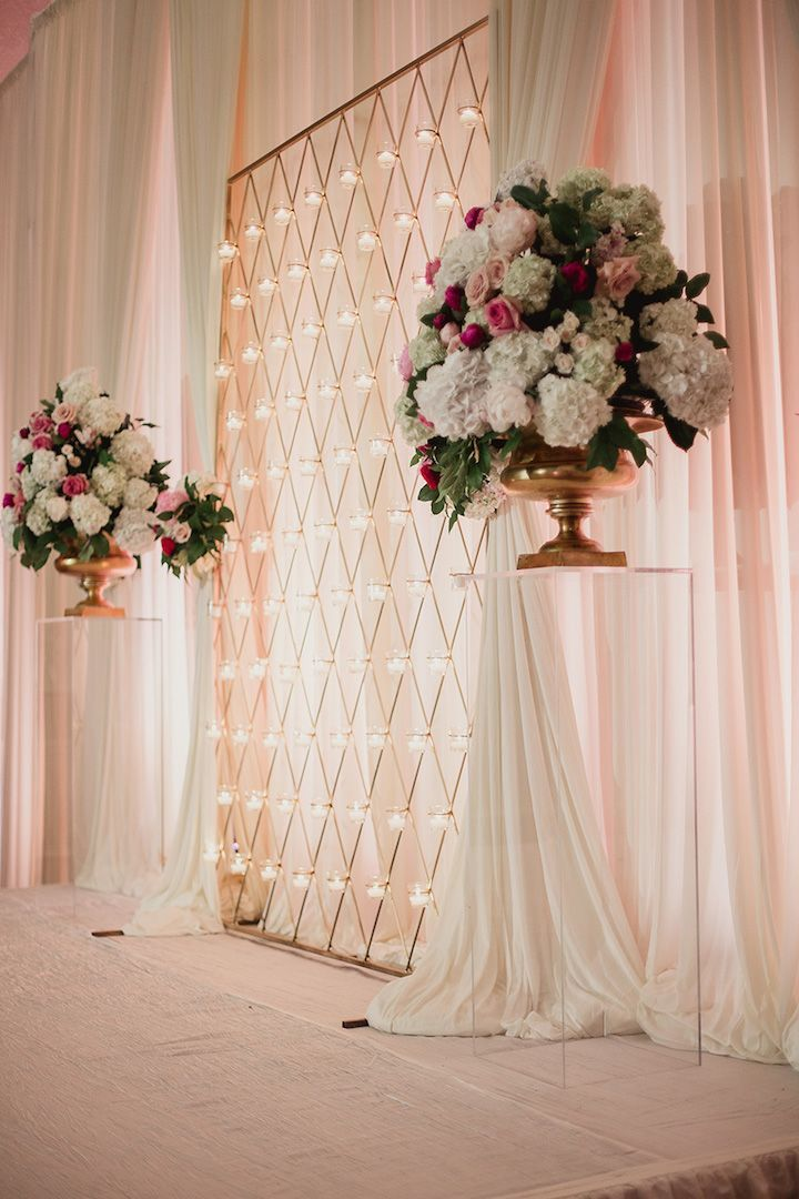 Luxurious dallas wedding at adolphus hotel wedding for Backdrop decoration ideas