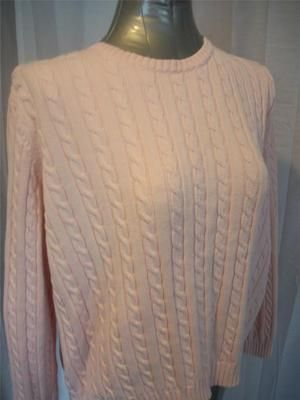 Sz XL RALPH LAUREN Solid Pink Pullover Crewneck Cable Knit Sweater ...