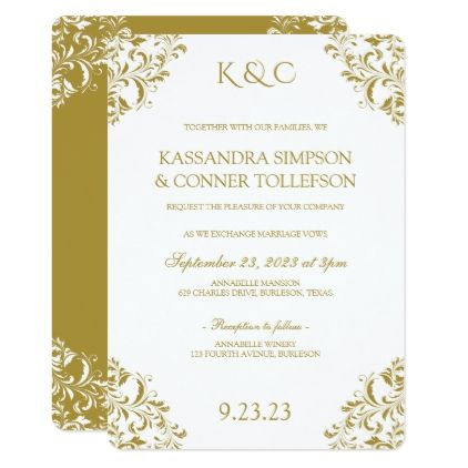 Nadine Invitation Template - Gold (Rounded) - #weddinginvitations - vintage invitation template