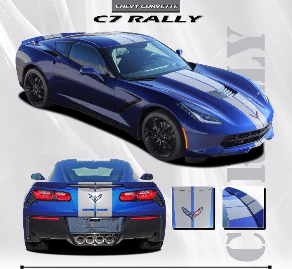 2014 2019 Chevy C7 Corvette Rally Racing Stripes Bumper Hood Roof Trunk Vinyl Graphics 3m Stripes Decal Kit Racing Stripes Corvette Chevy