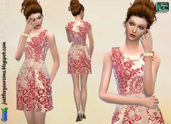 Cream and red lace dress