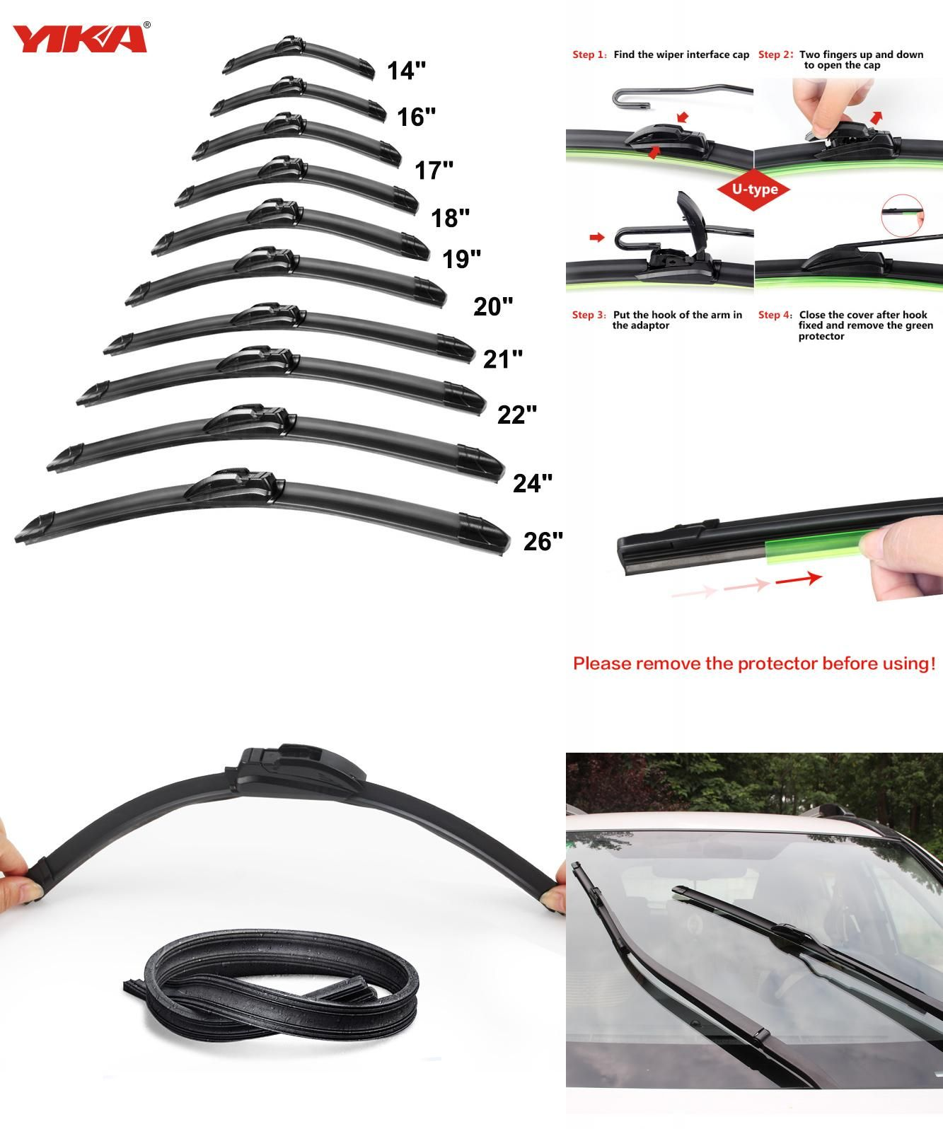Visit To Buy Yika Boneless Car Windowscreen Wiper Blade Plastic Strip Material Car Wiper Auto Soft Windshield Wiper Car Wiper Wiper Blades Windshield Wipers