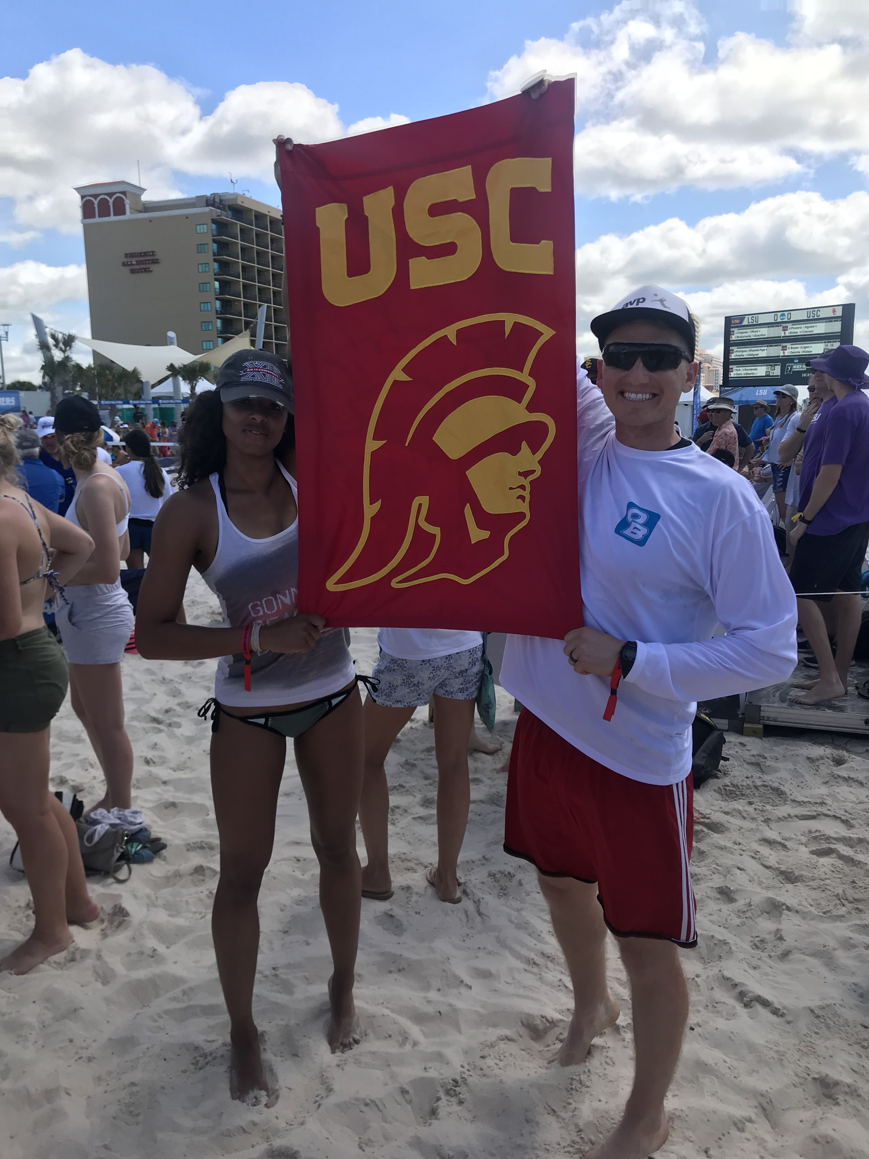 Usc Fans At The 2019 Ncaa Beach Volleyball Championship Beach Volleyball Usc Volleyball