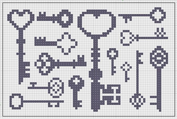 Miniature cross stitch keys pattern, but may also be used for: crochet, knitting motifs, knotting, loom beading, Perler beading, weaving and tapestry design, pixel art, micro macrame, friendship bracelets, and anything involving the use of a cha