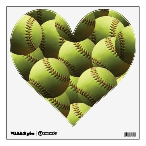 Yellow Softball Cover Wall Sticker