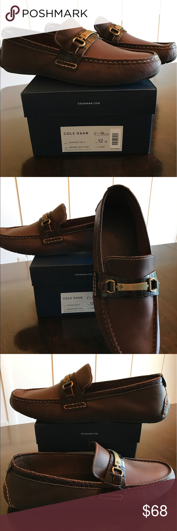 Cole Haan Somerset Venetian Bit Loafer Soft washed leather upper with croc print leather trim. Genuine hand sewn moccasin, leather outsole with driver-inspired rubber sole Cole Haan Shoes Loafers & Slip-Ons