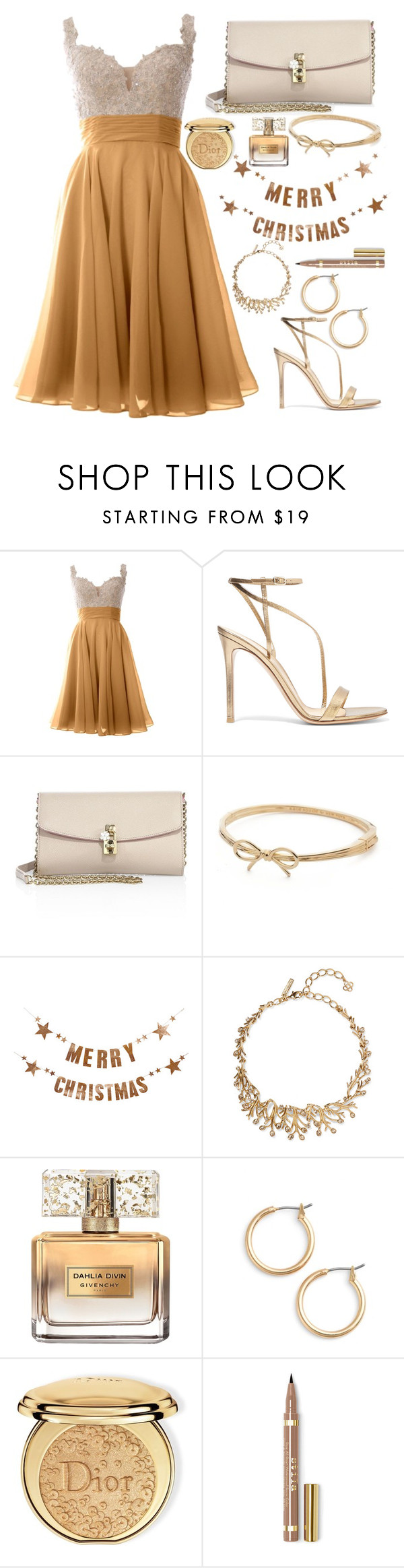 """""""Golden Christmas"""" by abigail-b12 ❤ liked on Polyvore featuring Gianvito Rossi, Dolce&Gabbana, Kate Spade, Bloomingville, Oscar de la Renta, Givenchy, Nordstrom and Christian Dior"""
