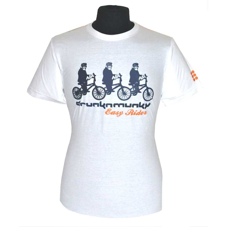White Easy Rider Tee Shirt - Keep the Munky moving high density and flat print logos