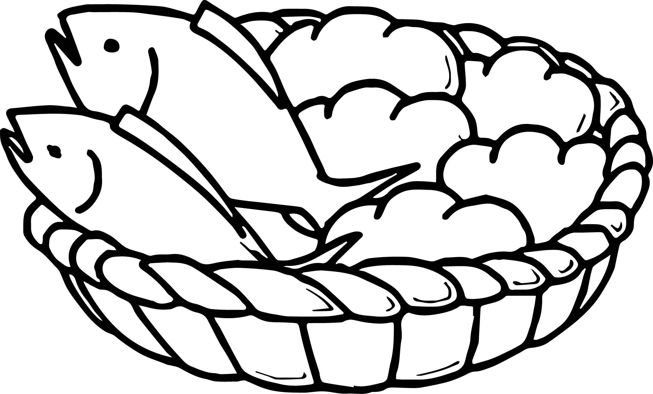 Awesome 5 Loaves Bread And 2 Fish Coloring Page Fish Coloring