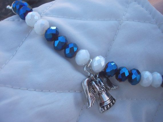 Bracelet of sapphire and white rondelles with by AliciasFindings, $15.00