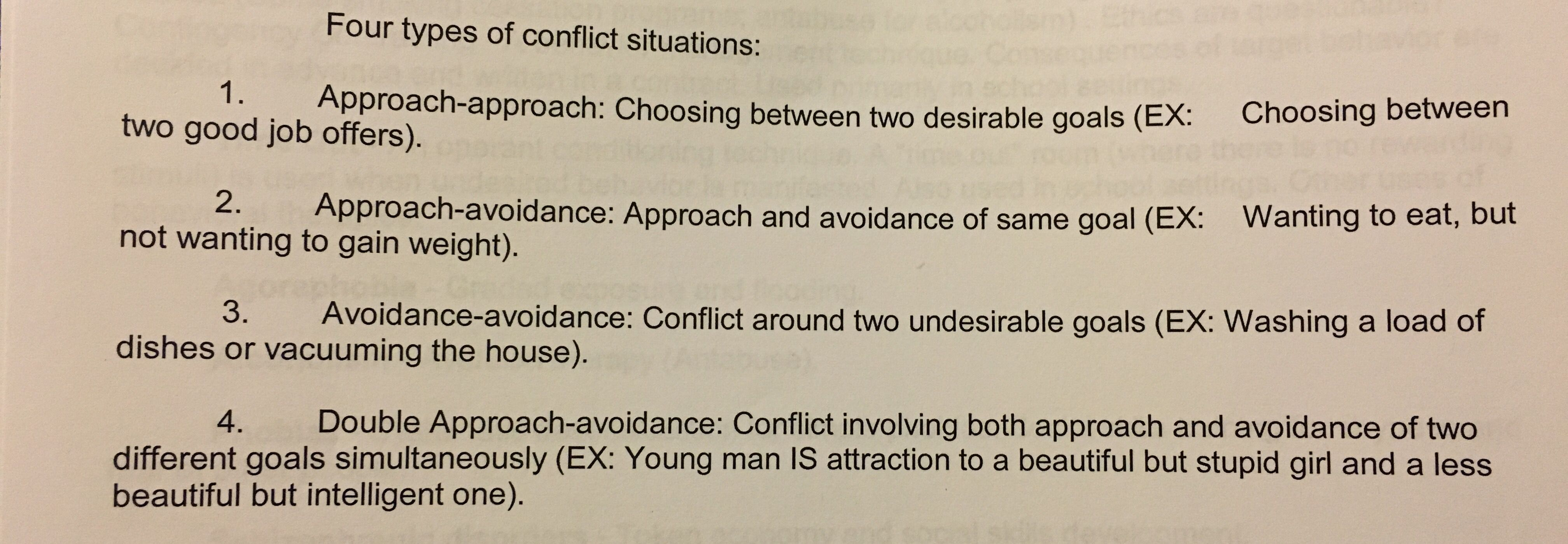 analysis of four types of conflict in The four 4 types of goals pursued in conflict words on conflict and conflict management record your answers in this worksheet part 1: the five conflict types describe each of the five conflict types using paragraph form 1 pseudo conflicts: pseudo conflicts are not conflicts at all they are fabrications that are based on assumptions and fallacies.
