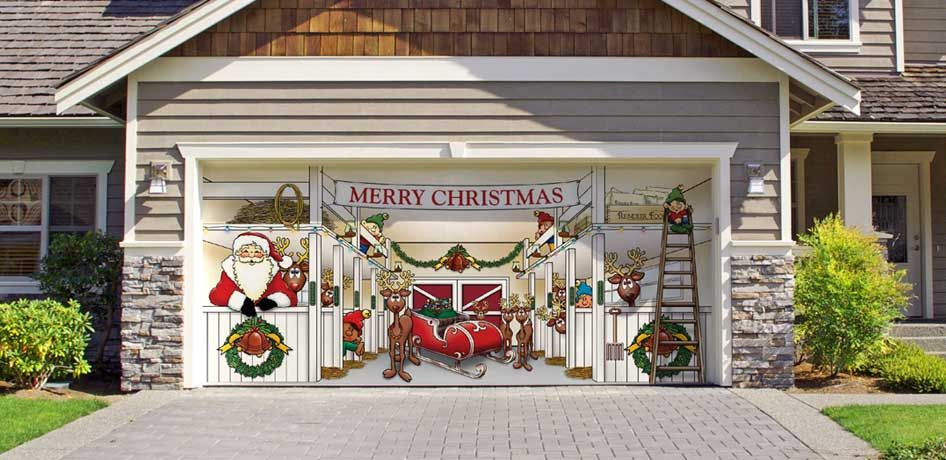 Huge Santas Reindeer Barn Outdoor Christmas Holiday Garage Door Dcor >>>  You can get additional details at the image link.