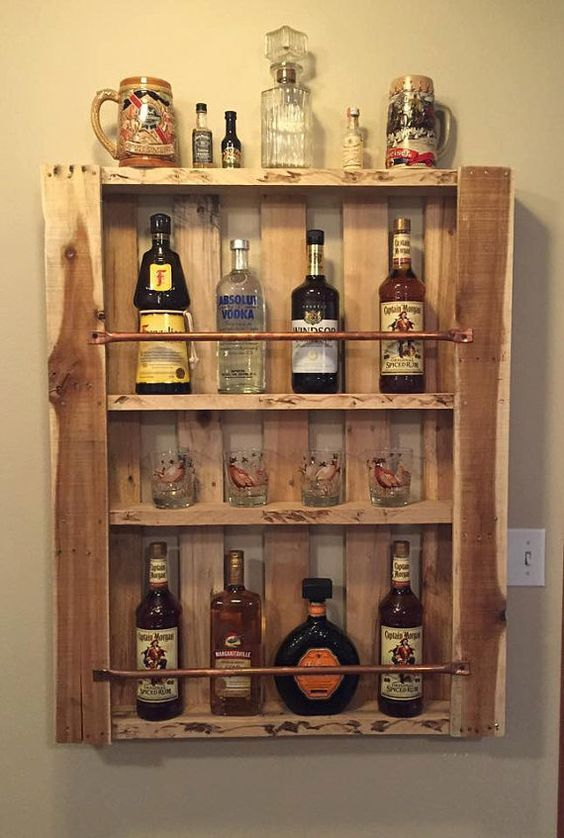 Rustic Pallet Wood Wall Shelf Liquor Cabinet Liquor Bottle Display ...
