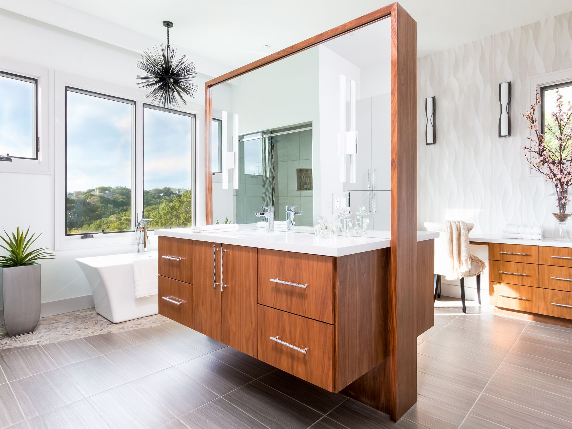 Expansive Spa Inspired Master Bath - 524 Beardsley Lane  Contemporary