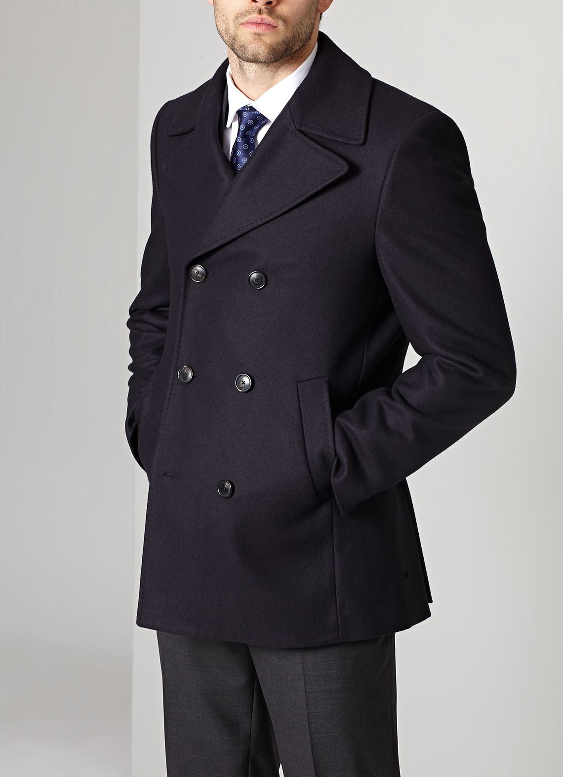Austin Reed Navy Wool Peacoat Wool Peacoat Peacoat Double Breasted Suit Jacket