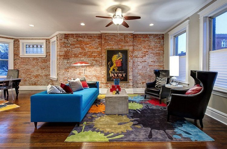 moderner Stil Mix von Strukturen und Farben im Wohnzimmer - moderne wohnzimmer farben