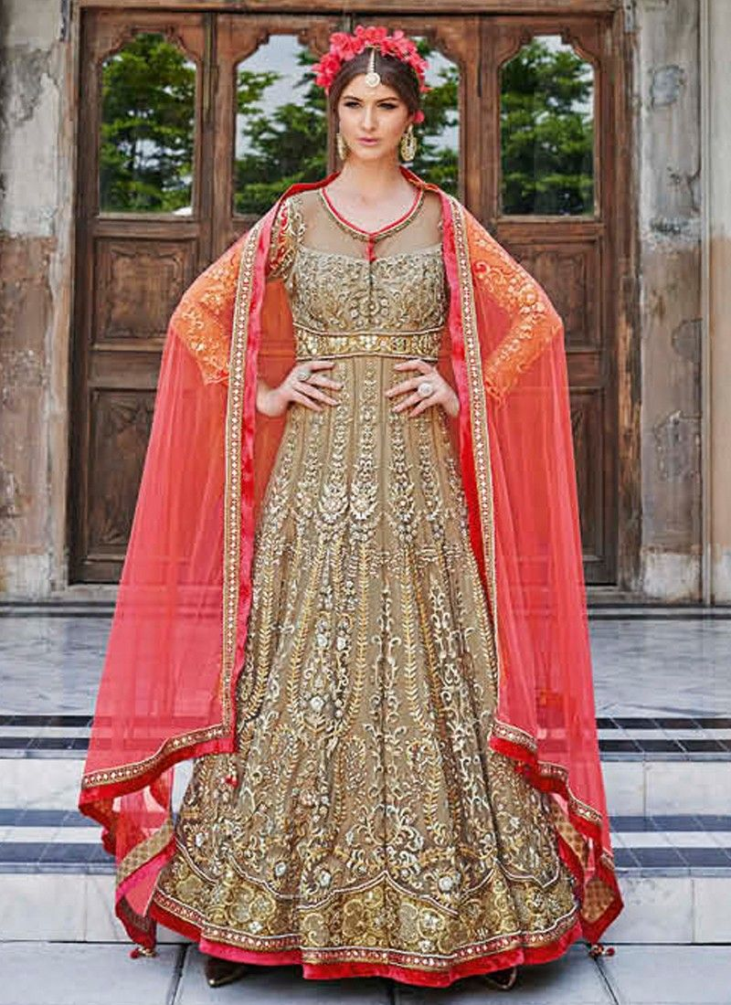 Red heavy bridal anarkali frock 7 suitanarkali in - Heavy Taupe And Peach Embroidered Net Floor Length Anarkali Bridal Anarkali Suitspakistani