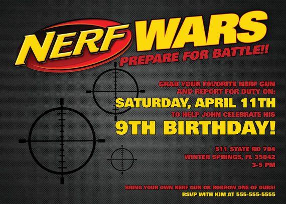 Nerf Wars Invitation 5 x 7 Digital Download PDF NERF WARS