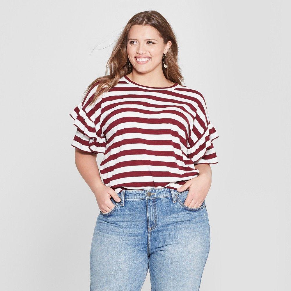 7b0b158417 Women s Plus Size Striped Ruffle Short Sleeve T-Shirt - Universal Thread  Red White