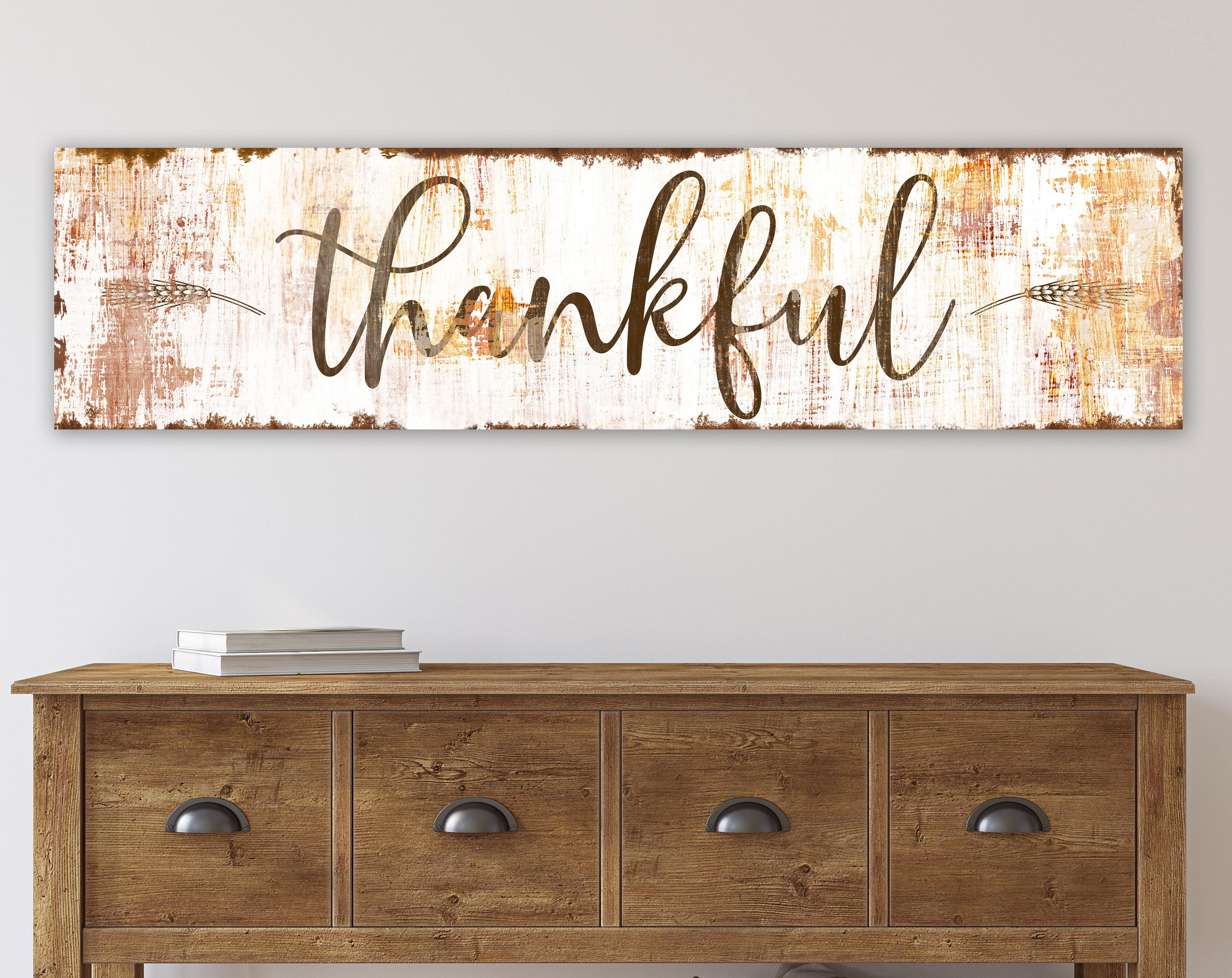 Farmhouse Fall Wall Decor Rustic Thankful Sign For Autumn Home