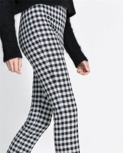 New Womens White /& Black Slim Checked Pants Skinny Stretch Tartan Plaid Trousers