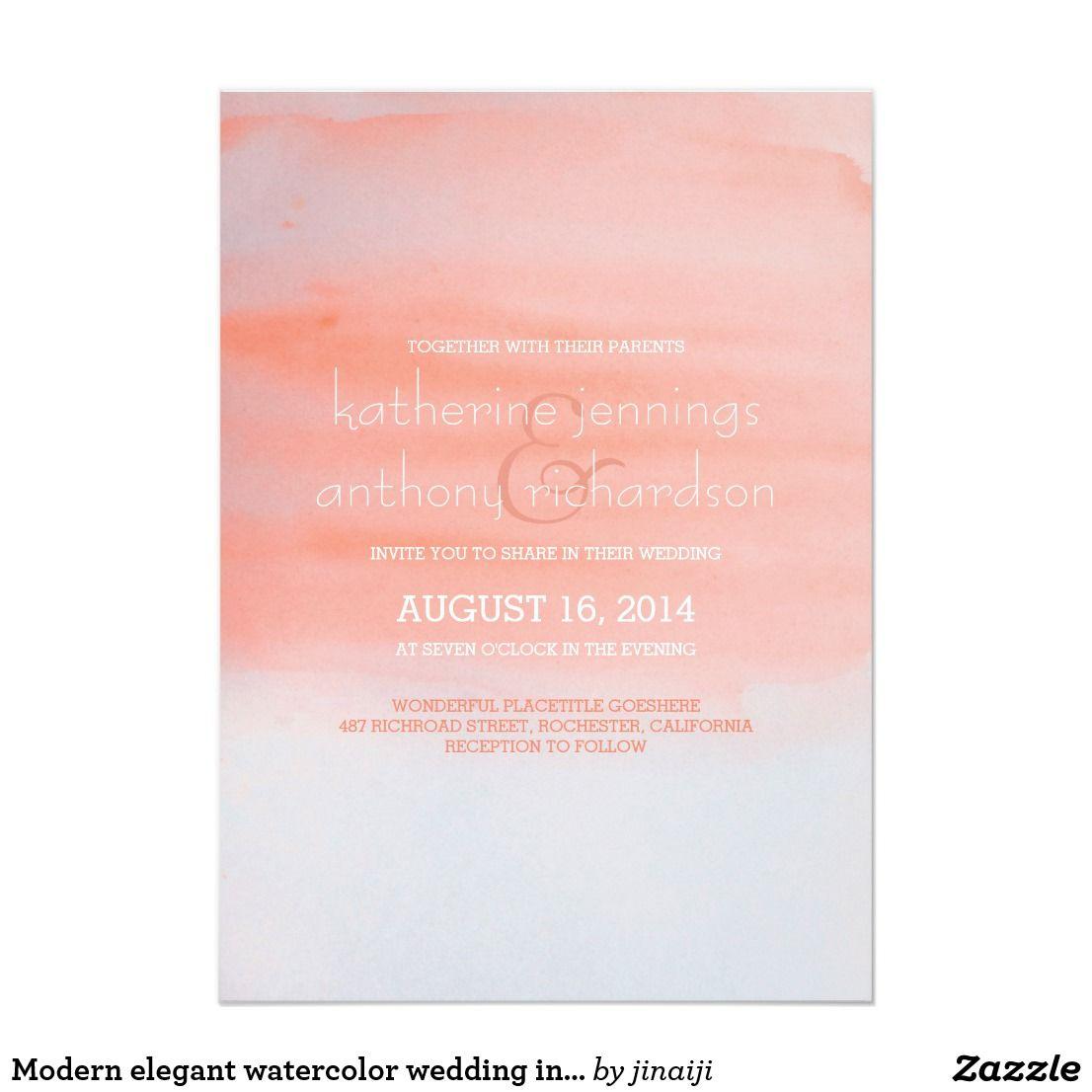 Modern elegant watercolor wedding invitation | Beach Wedding ...