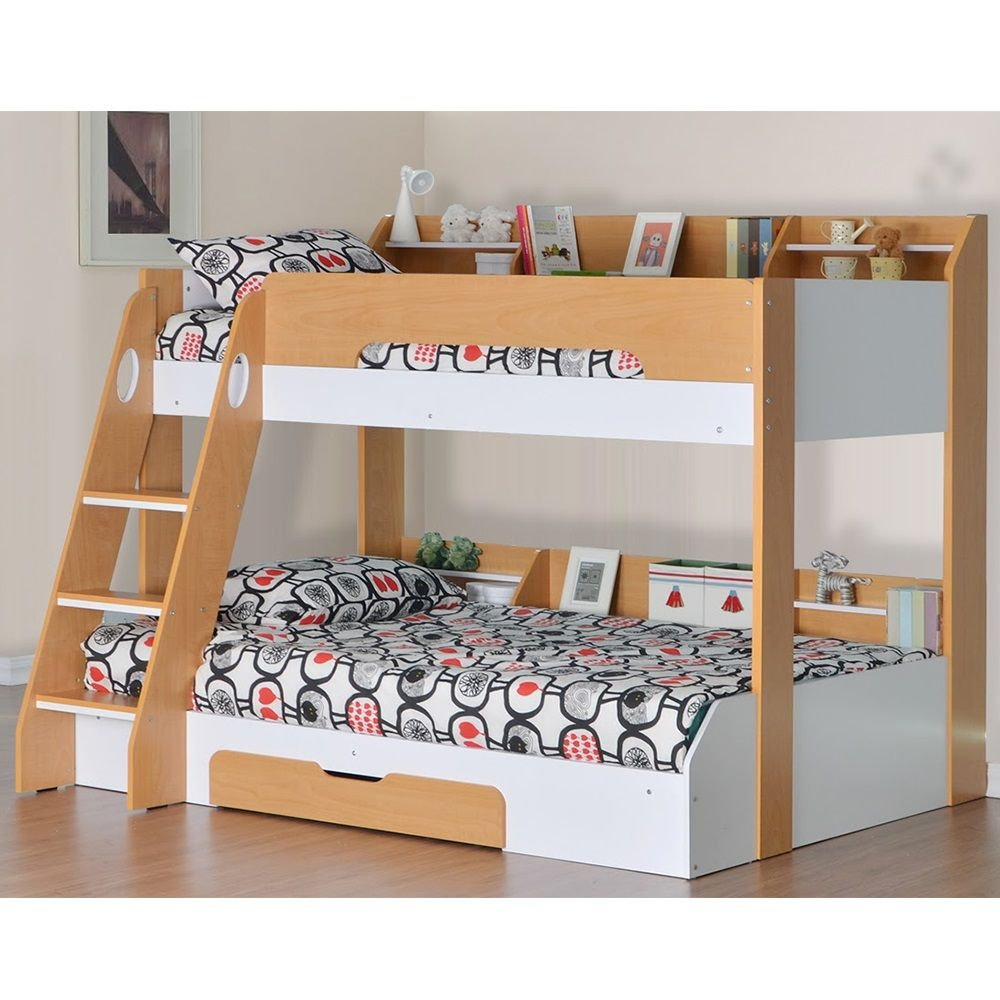 FLICK TRIPLE BUNK BED in Beech and White | boys room | Pinterest