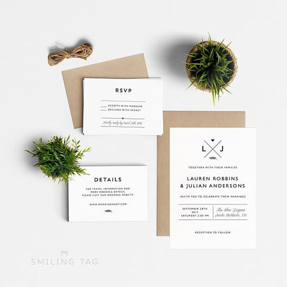 Modern Wedding Invitation Suite, Wedding Invitation Printable