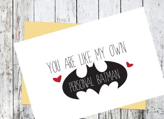 Printable Batman Card // I love you // Men's by WhiteRoseWriters
