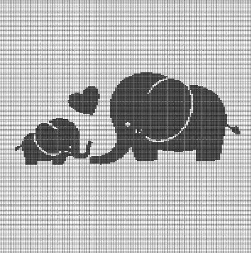 ELEPHANT MOM AND BABY CROCHET AFGHAN PATTERN GRAPH