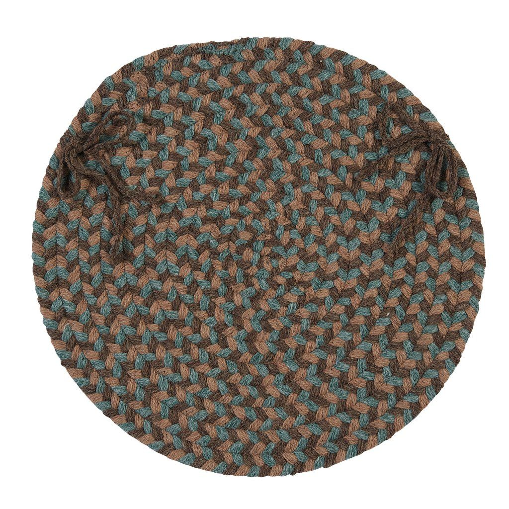 Charming Boston Common Round Braided Chair Pad, BC54 Driftwood Teal