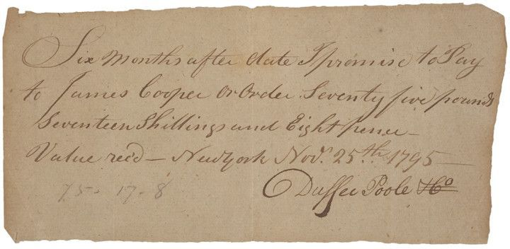 Handwritten Promissory Note, Nov25, 1795 Promissory note and - promissory notes