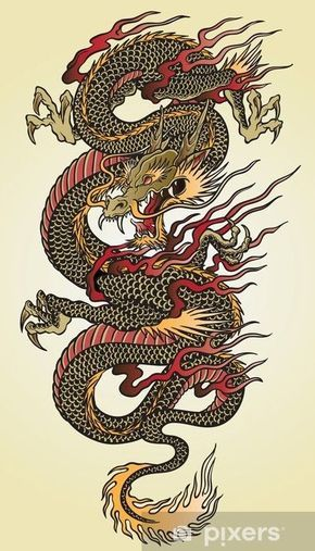 Detailed Asian Dragon Tattoo Illustration Wall Mural • Pixers® - We live to change