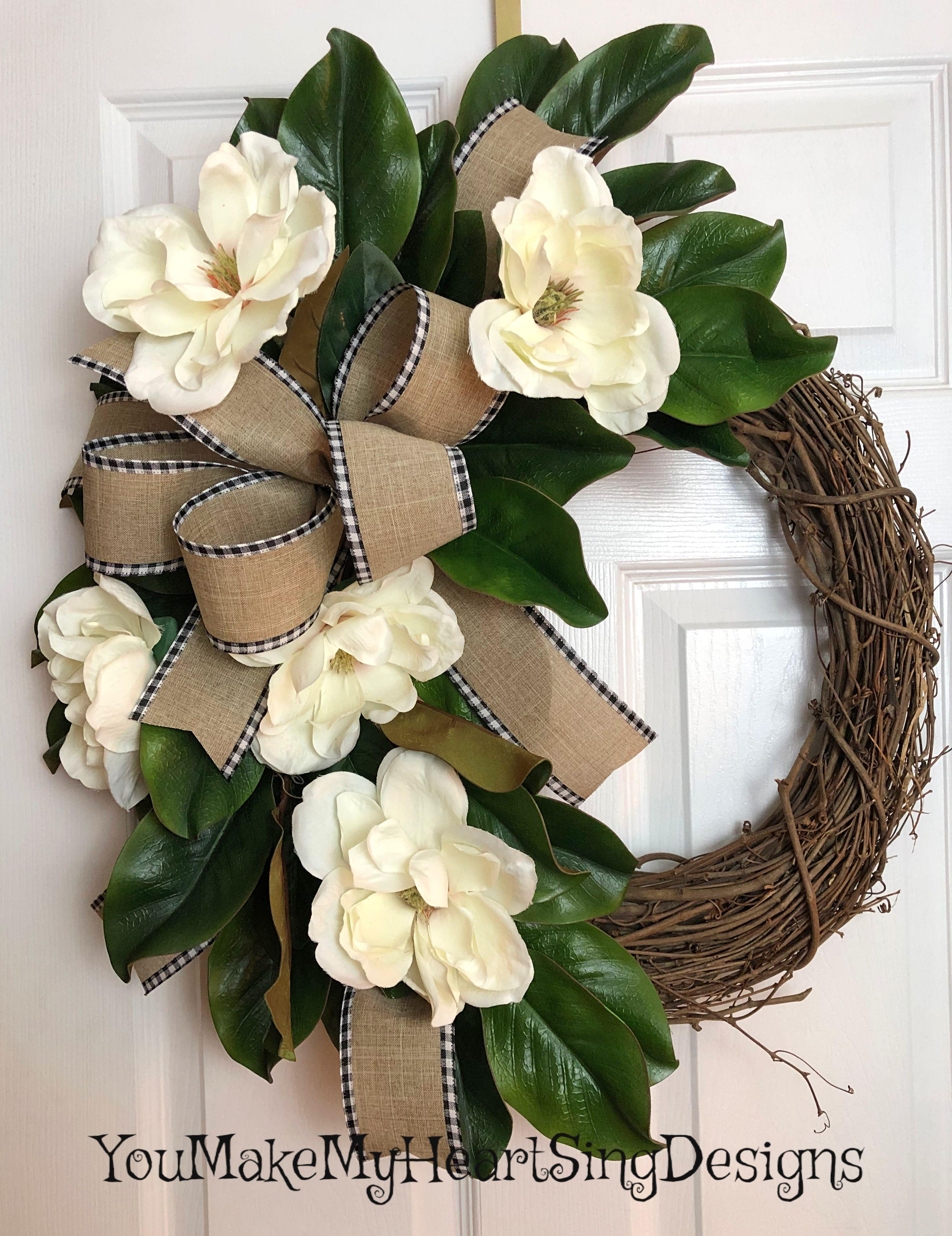 Photo of Magnolia wreath, magnolia wine wreath, magnolia leaves, natural ribbon