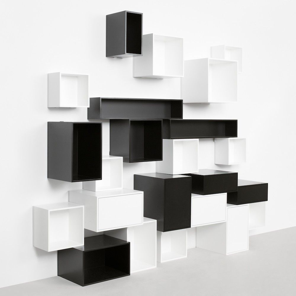 Black and white cubit configuration with floating compartments modular storage wall by cubit by mymito design cubit amipublicfo Image collections
