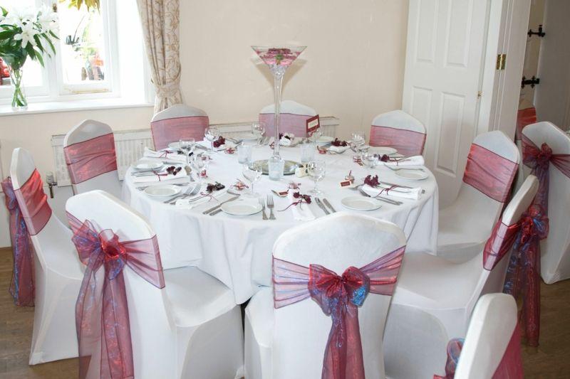 Stuhl Deko Hochzeit tischdekoration zur hochzeit weiss pink stuhl deko schlicht rund
