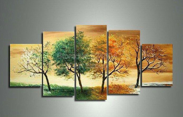 Handpainted 5 Piece Modern Landscape Decorative 4 Season Tree ...