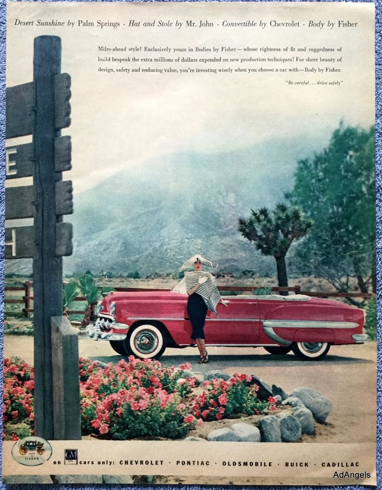 Hat And Stole By Mr John 1954 Chevrolet Convertible Ad Palm Springs This Is For The Advertisement Only Not The Pr Car Ads Automobile Advertising Chevrolet