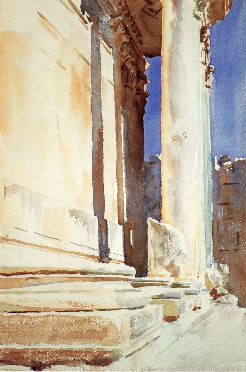 The Athenaeum - Baalback, Temple of Bacchus (John Singer Sargent - ) 1905-1906