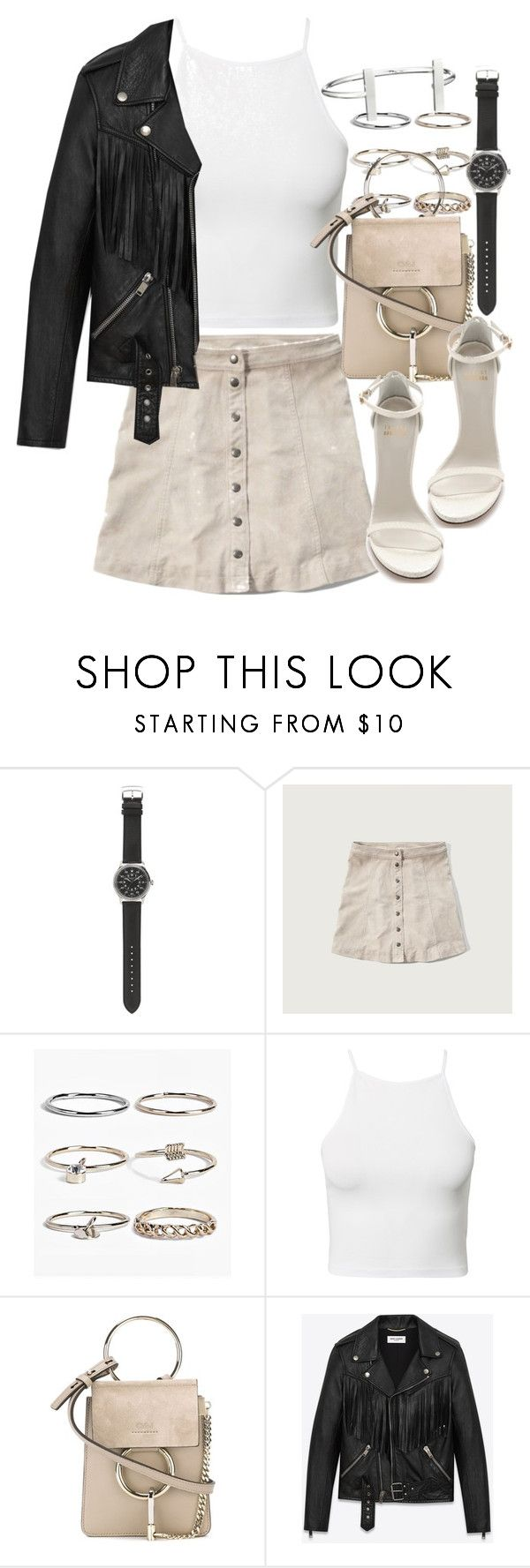 """Untitled #1834"" by victoriamk ❤ liked on Polyvore featuring J.Crew, Abercrombie & Fitch, Boohoo, Estradeur, Chloé, Stuart Weitzman, Yves Saint Laurent and French Connection"