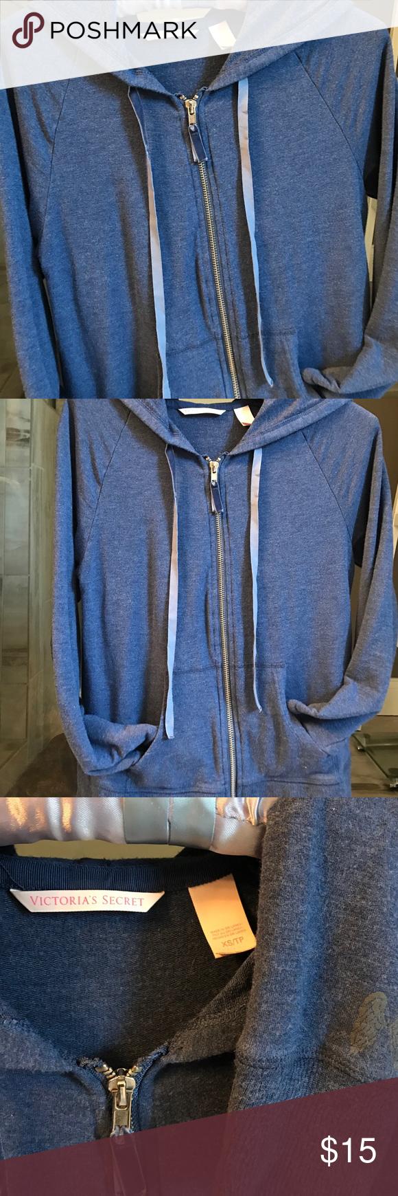 VS full zip hoodie Heather navy blue Victoria's Secret zip up hoodie. Light weight, stretchy material. Has logo detail on left lower sleeve, zip and hoodie ties velvet. Victoria's Secret Tops Sweatshirts & Hoodies