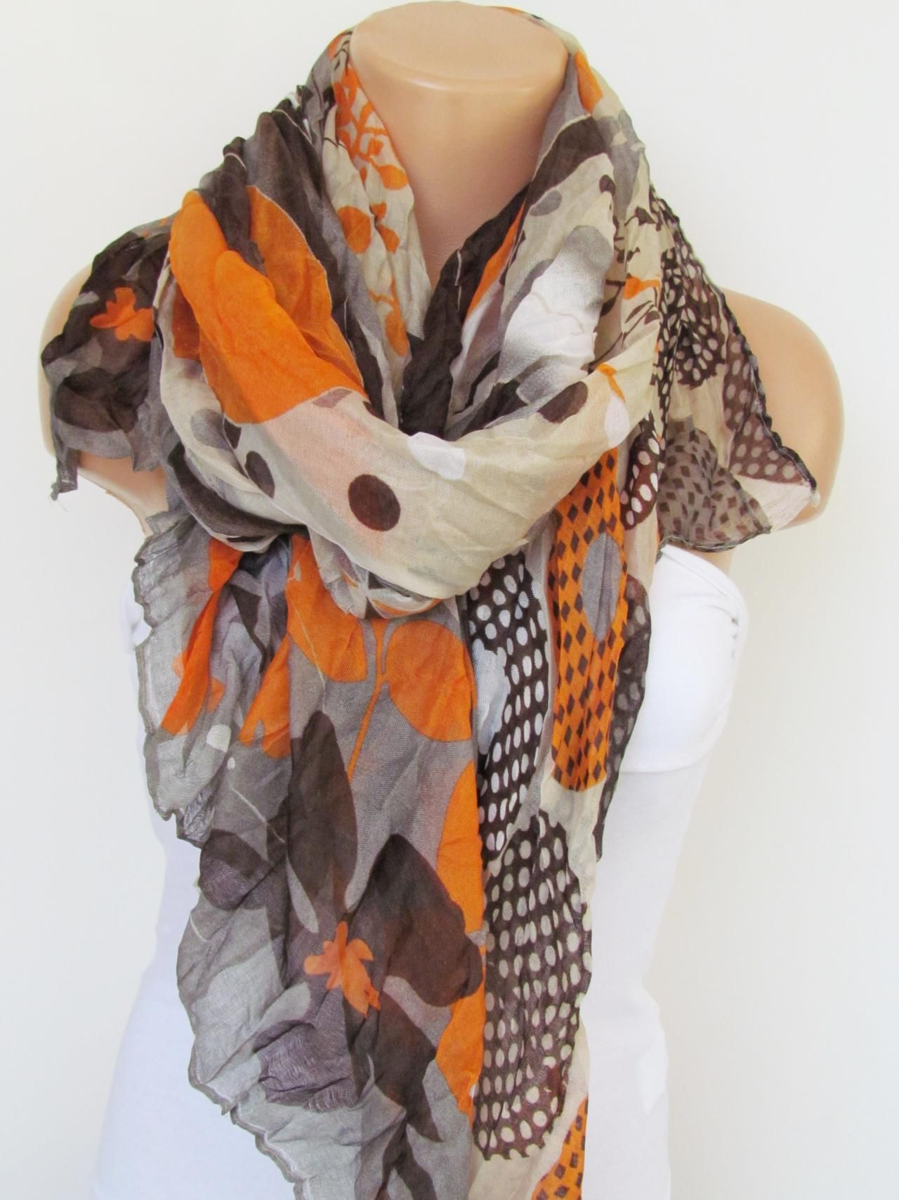 0a28f3fc4613d Orange Brown and Cream Floral Polka-dot Pattern Scarf Spring Summer Scarf  Infinity Scarf Women's Fashion Accessories Trend Holidays Easter Gift Ideas  For ...